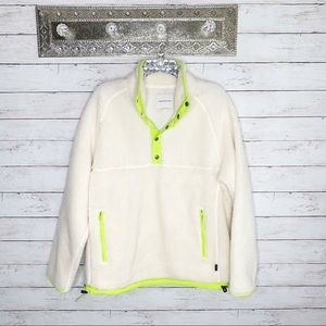 American Eagle Neon Button Sherpa Pullover Jacket